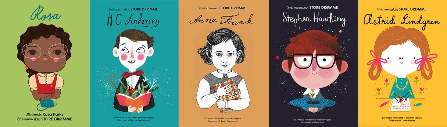 Inspiration: Små fine fagbøger om berømte mennesker, som også var små engang!