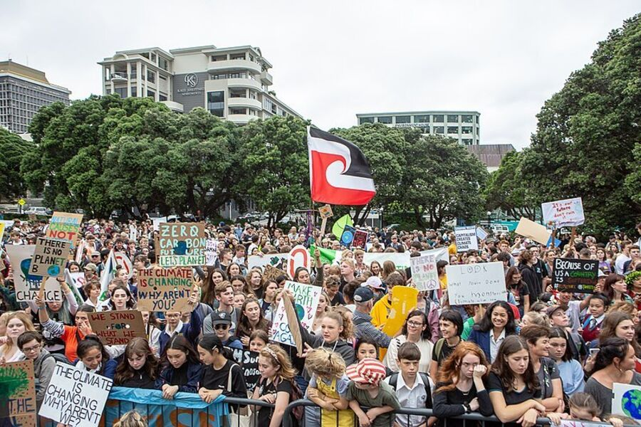 Young people in the School Strike for Climate in Wellington, New Zealand