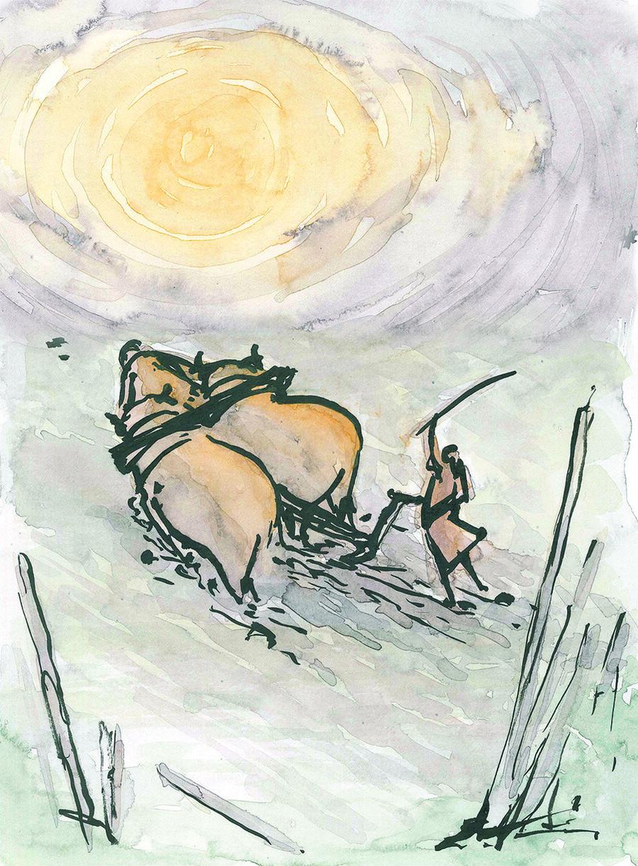 Udstilling: Illustrator Morten Brynaa udstiller sine originaltegninger fra bogen 'De frie bønders land'.